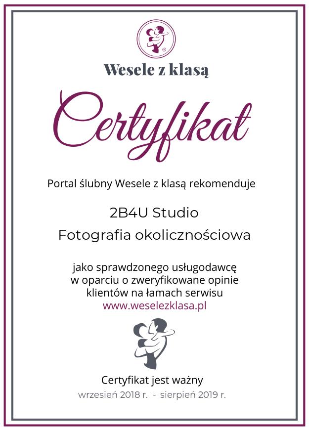 Certyfikat od WeselezKLasa.pl